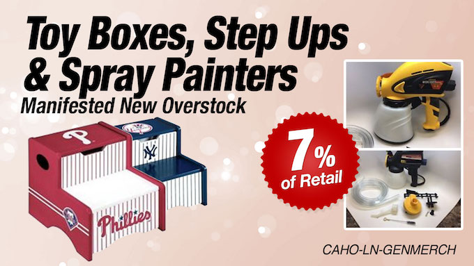 CAHO-LN-GENMERCH - LiquidateNow   Liquidation of Toy Boxes, Step Ups, and Spray Painters