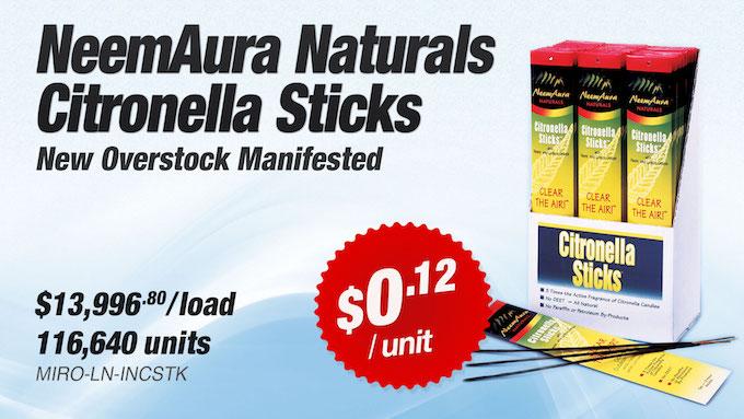 MIRO-LN-INCSTK - Liquidation of NeemAura Naturals Citronella Sticks