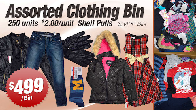 SRAPP-BIN - SRS Store Assorted Shelf-Pull Clothing Bins (M/W/K)