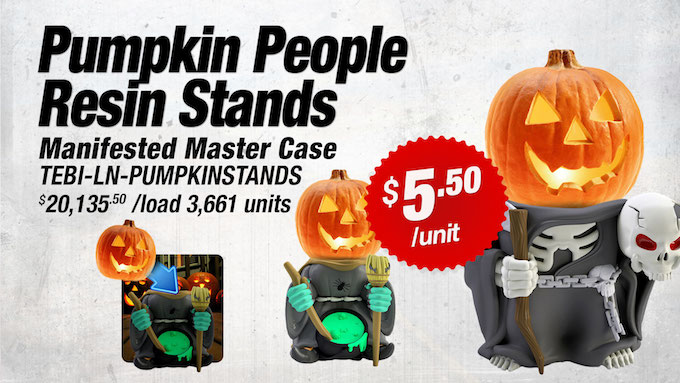 TEBI-LN-PUMPKINSTANDS - Pumpkin People Resin Stands