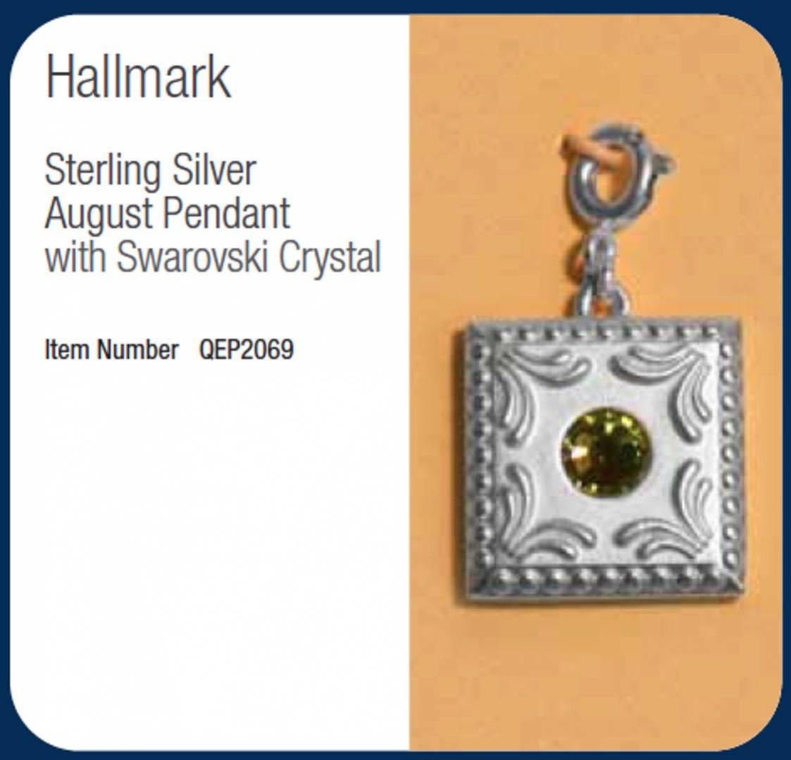 NEW Hallmark Keepsake silver plated AUGUST Charm Pendent w ********* Crystal