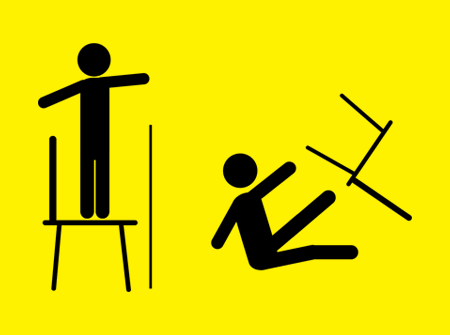 No standing on chairs
